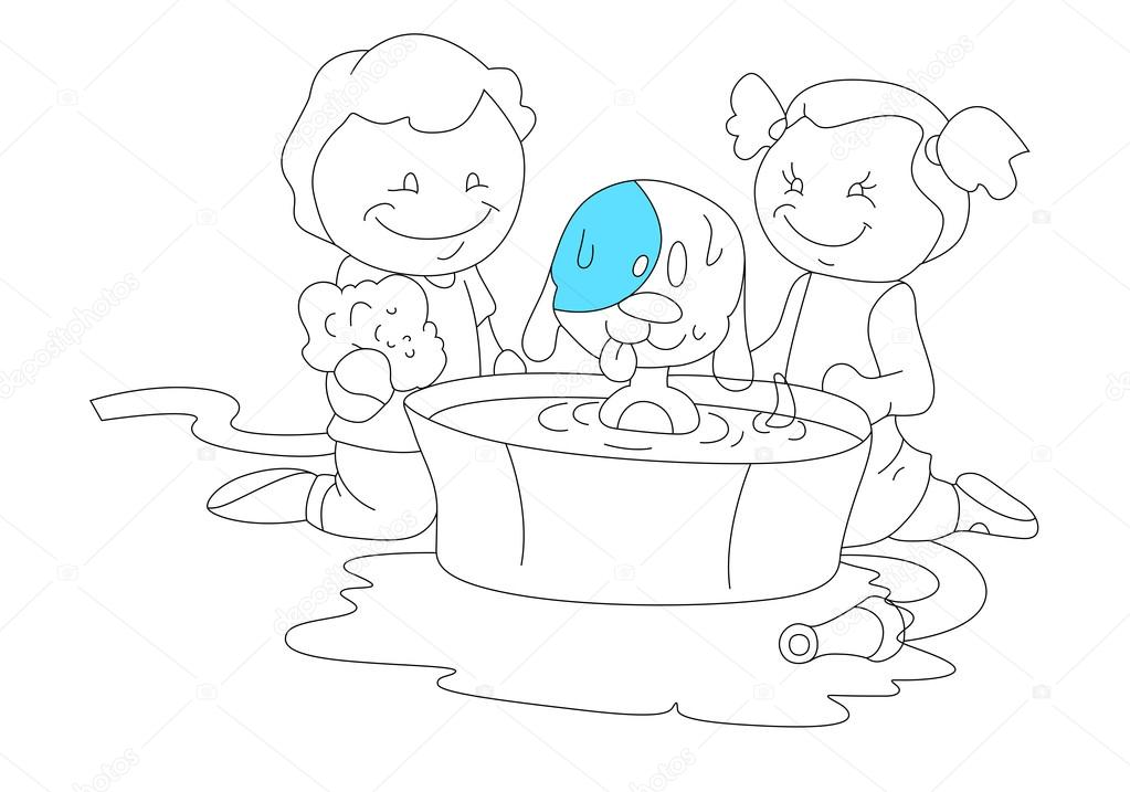 1023x717 Sketch Of Kids Playing With Dog Stock Vector Baavli