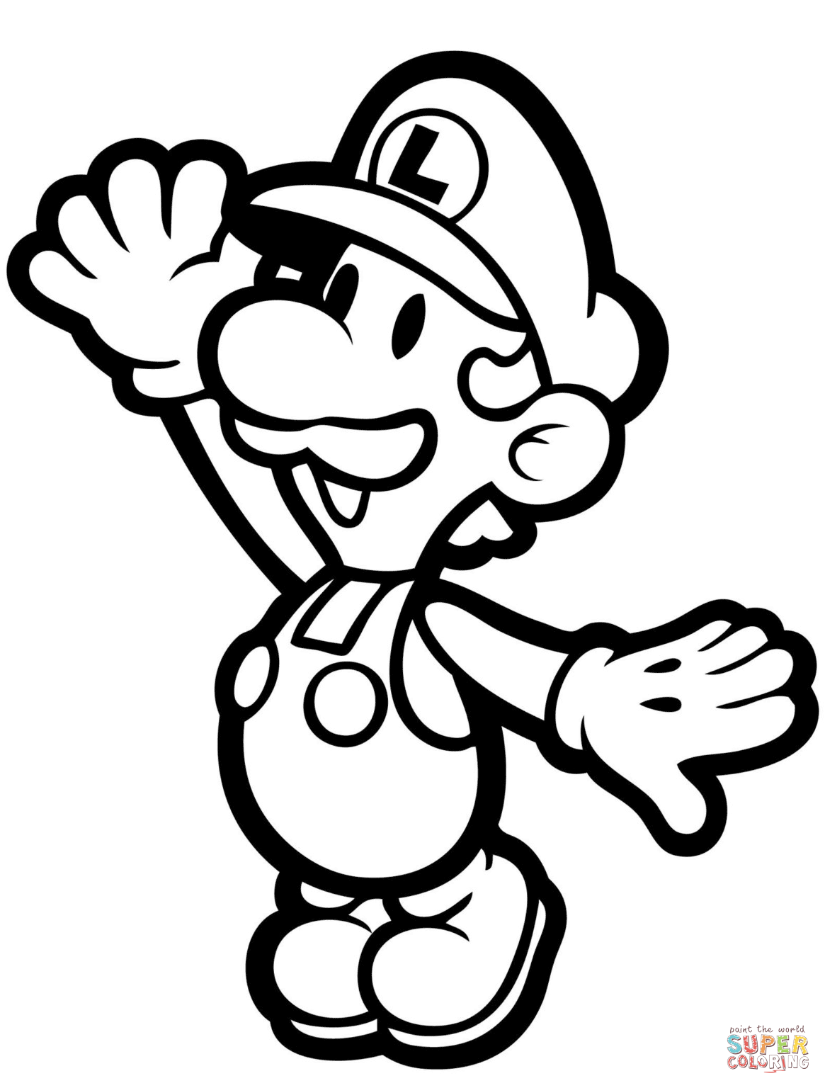 1165x1536 Paper Luigi Coloring Page Free Printable Coloring Pages