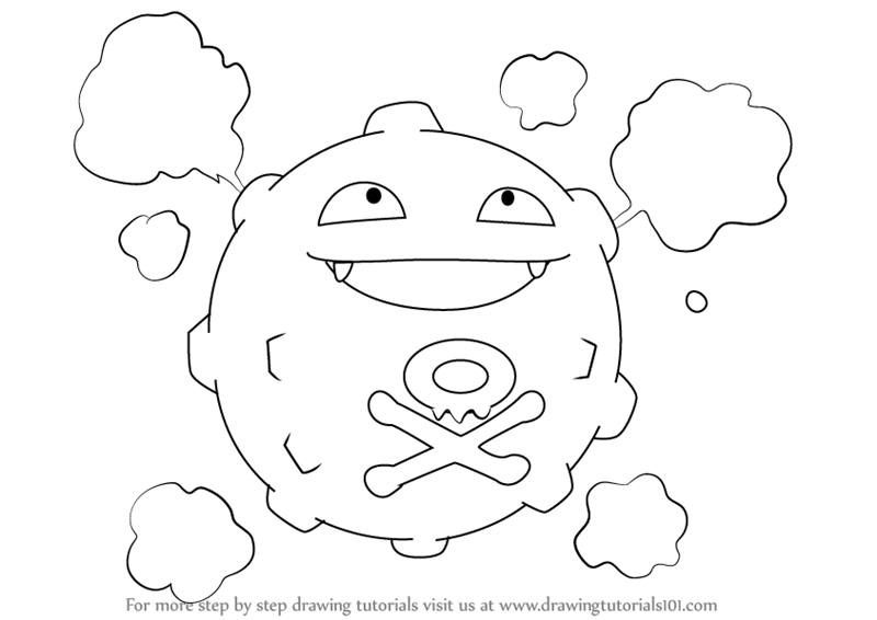 800x566 Learn How To Draw Koffing From Pokemon (Pokemon) Step By Step