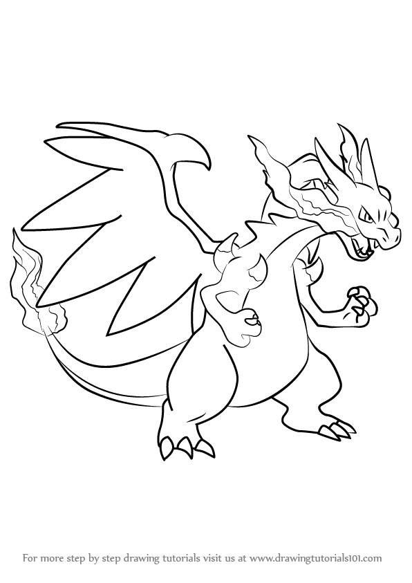 596x843 Learn How To Draw Mega Charizard X From Pokemon (Pokemon) Step By