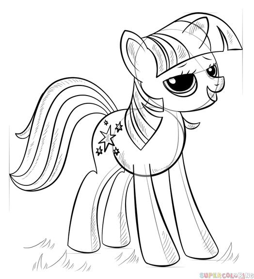 524x575 How To Draw Princess Twilight Sparkle Alicorn Step By Step