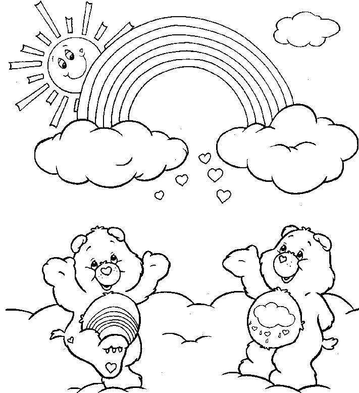 711x778 Rainbow Care Bears Coloring Drawing Color Sheets