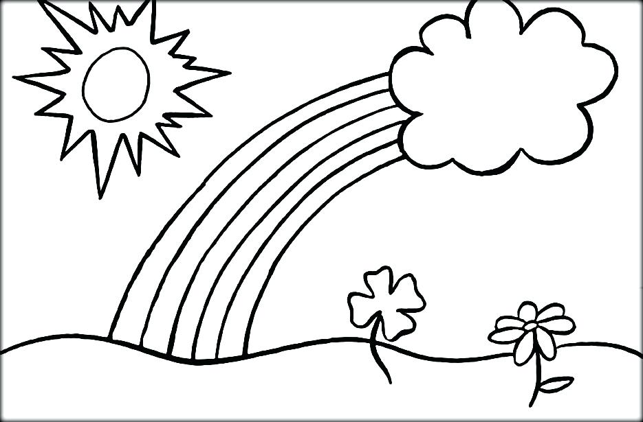 935x615 Rainbow Coloring Page And Pot Of Gold