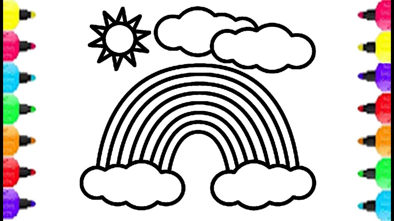1280x720 Rainbow Coloring Pages How To Draw Rainbow Clear Sky Coloring