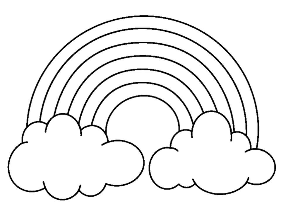 960x720 Rainbow With Clouds Coloring Page