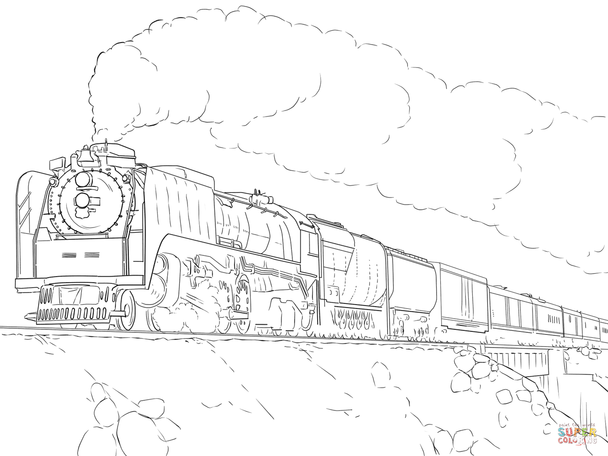 1200x900 Cartoon Train Coloring Page Pages For Download And Print Kids