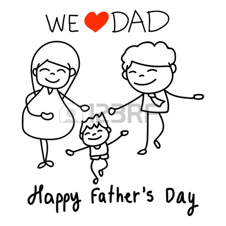 450x450 Hand Drawing Concept Cartoon Character Happy Fathers Day. Vector