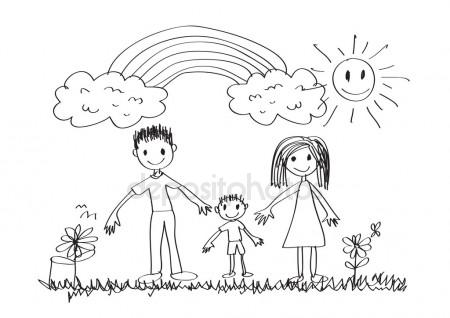 450x318 Kids Drawing. Family Stock Vector Primovich
