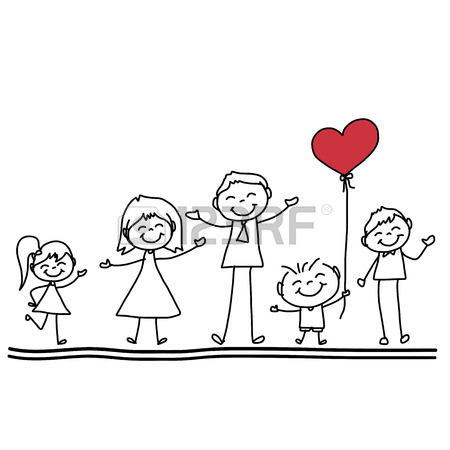 450x450 Cartoon Hand Drawn Kids Holding Sky Illustration Royalty Free