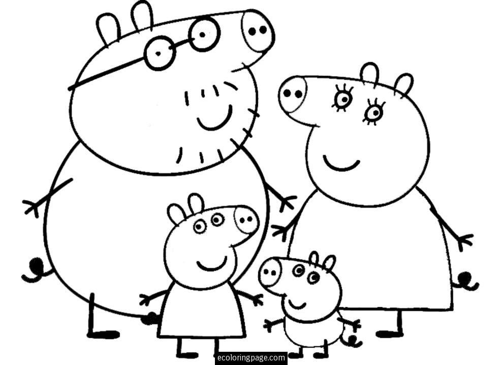 990x718 Peppa Pig And Family Coloring Page For Kids Printable