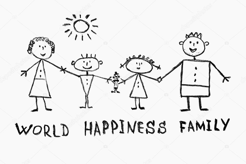 1023x682 Children's Drawing Of A Close Knit Family Stock Photo Malven