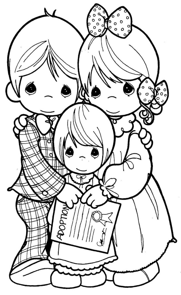 629x1024 Easier Child Coloring Family Drawing Precious Moments Precious
