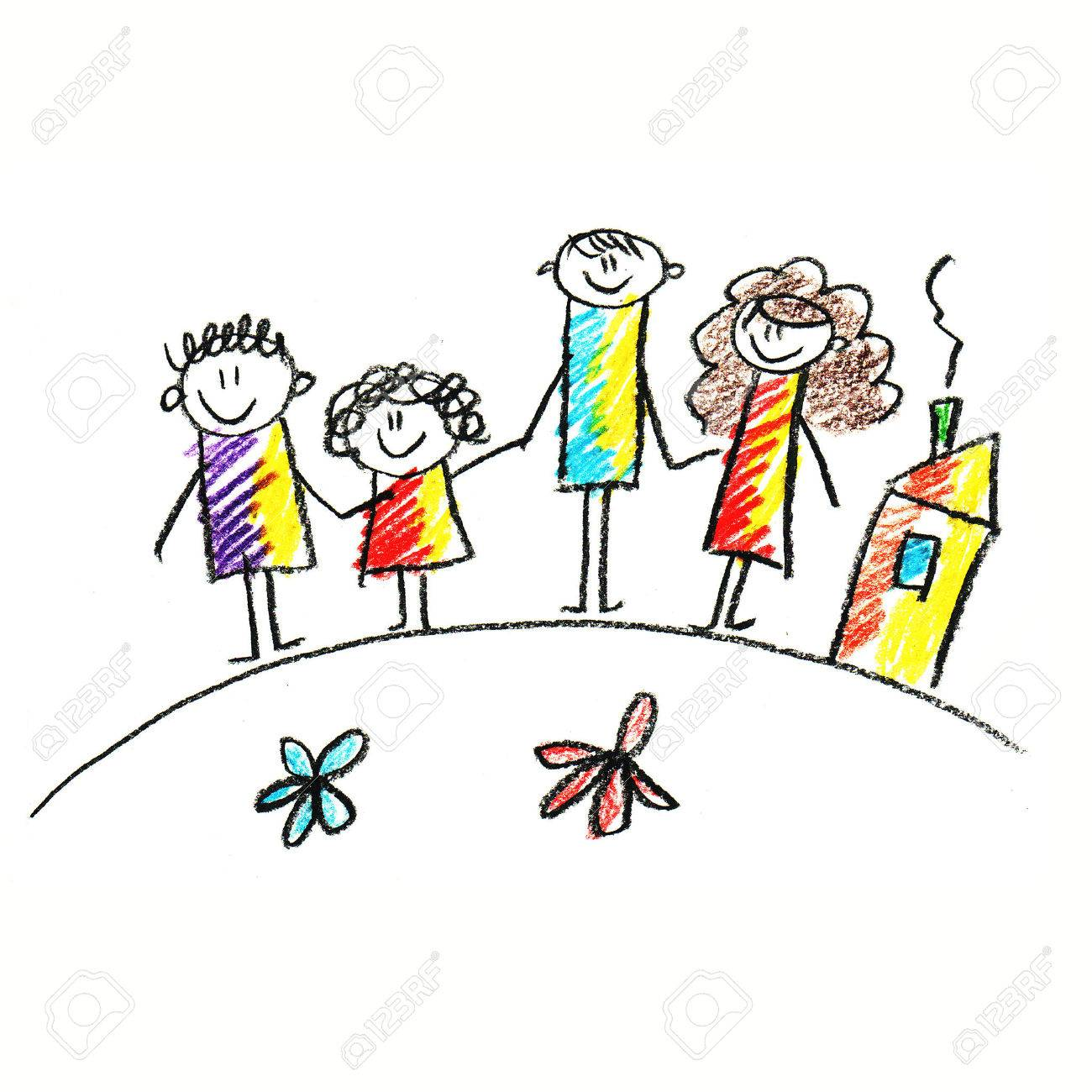 1300x1300 Colorful Picture Of Happy Family. Kids Drawing Style Stock Photo