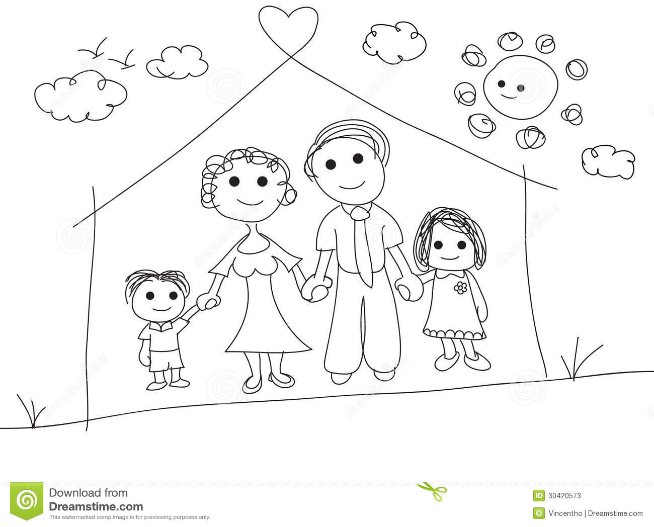 1300x1048 Drawing Of My Family Family In Kids Drawing Style Stock Vector