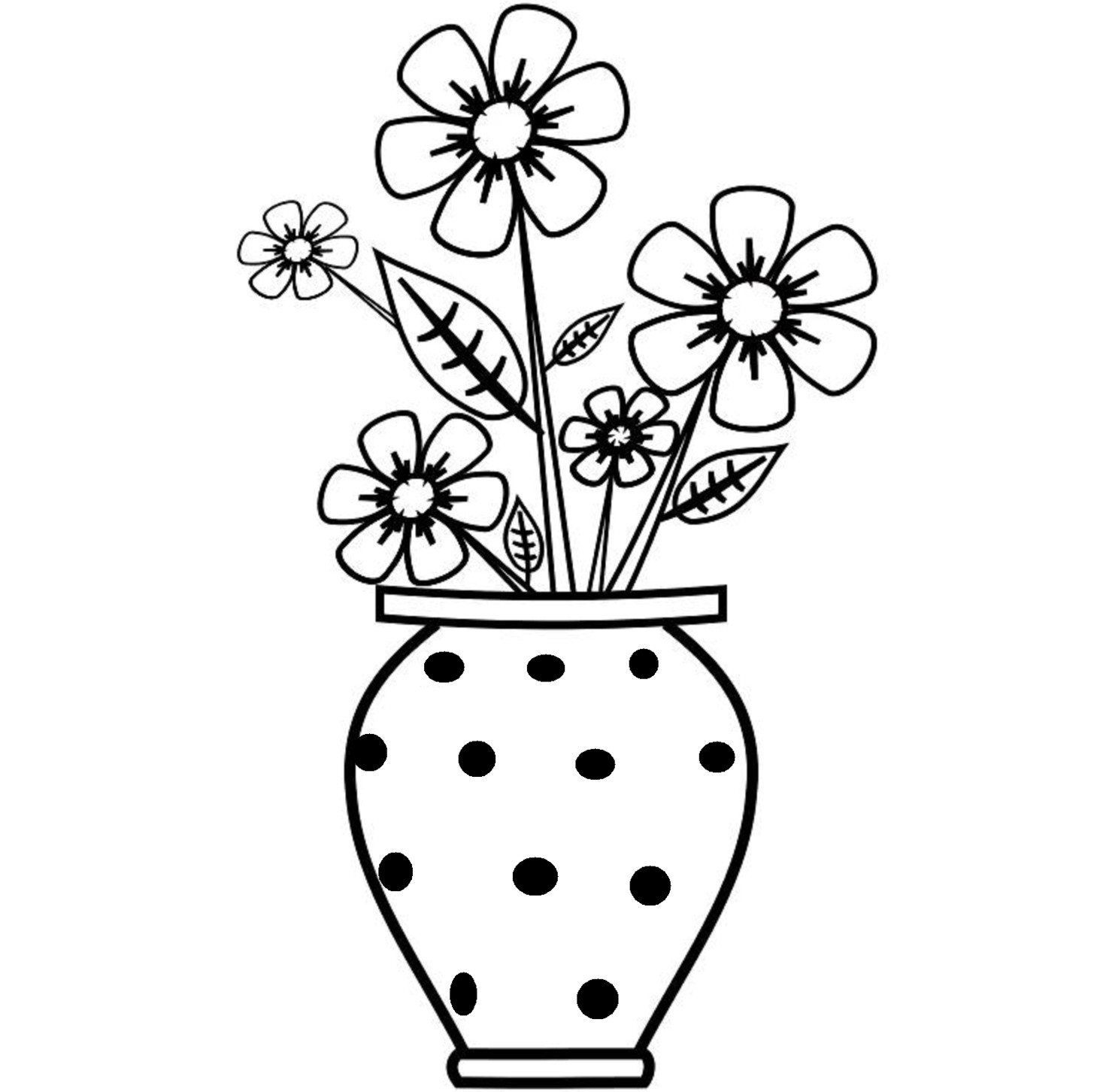 1455x1452 Flower Vase With Flowers Drawings For Kids Pot Drawing Flowerh