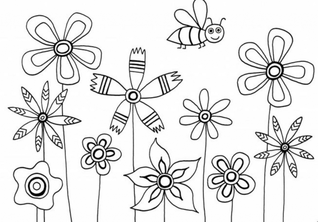 1024x716 Simple Flower Drawing For Kids Flower Coloring Pages Simple Flower