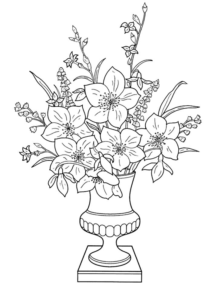 720x932 Vase With Flowers Drawings For Kids