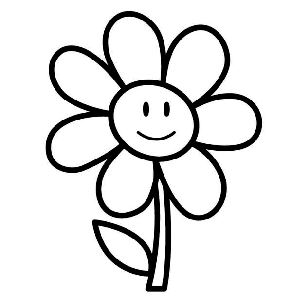 600x613 Coloring Pages Draw Easy Flowers Easy Flower Coloring Page