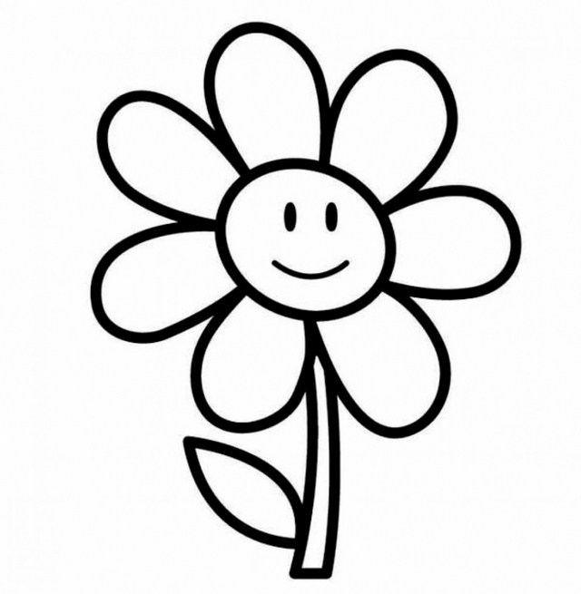 640x655 Simple Flower Drawing For Kids Pics Of Easy Roseng Pages Pictures