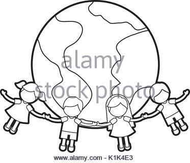 373x320 Children Holding Hands Around World Wearing Shirts