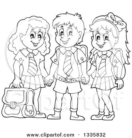 450x470 Clipart Of Cartoon Black And White Happy School Children Wearing