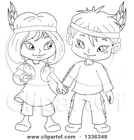 450x470 Clipart Of Cartoon Black And White Native American Indian Children
