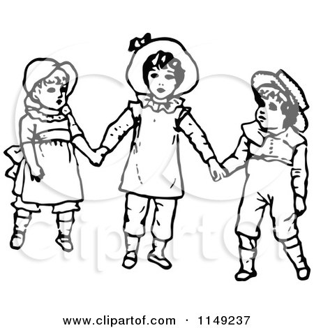 450x470 Clipart Of Retro Vintage Black And White Kids Holding Hands