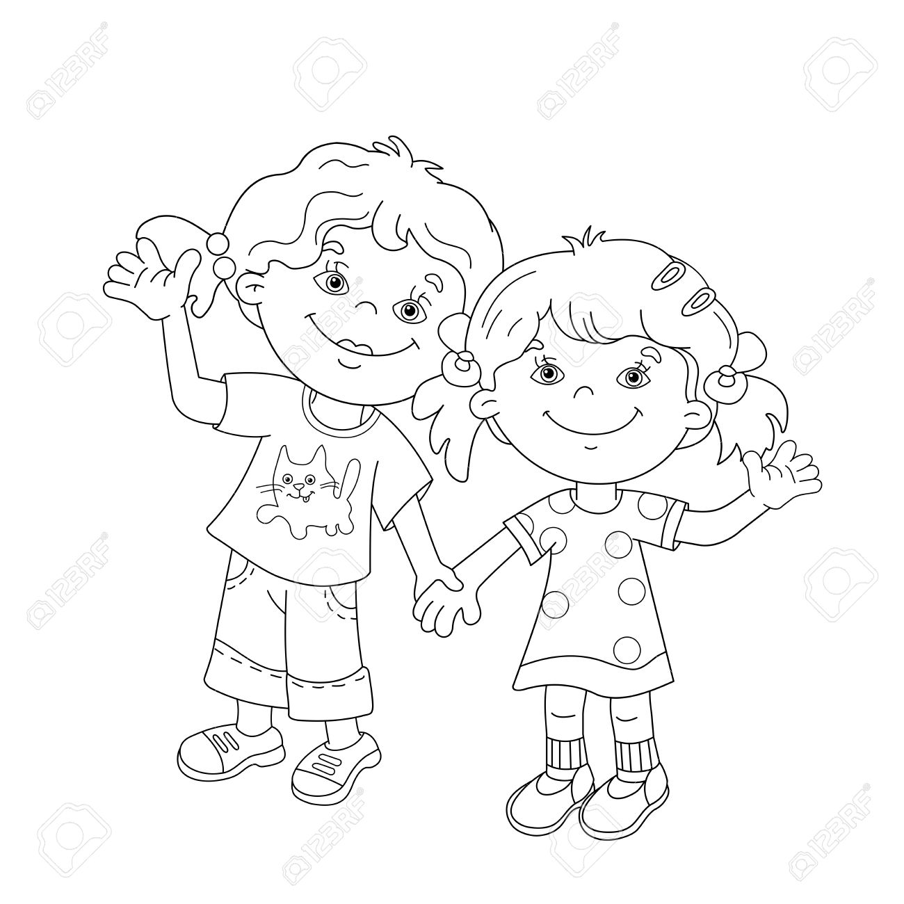 1300x1300 Coloring Page Outline Of Cartoon Girls Holding Hands. Coloring