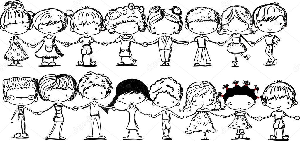 1023x482 Cute Kids Holding Hands, Black And White Cartoon Picture Stock