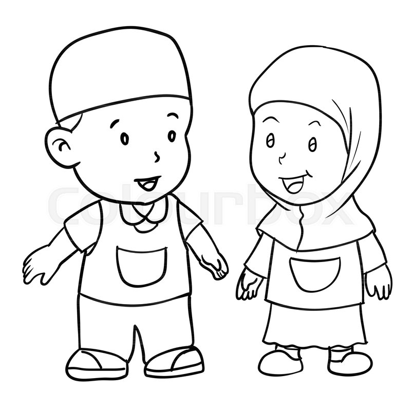 800x800 Hand Drawing Of Muslim Kids Standing Isolated On White Background