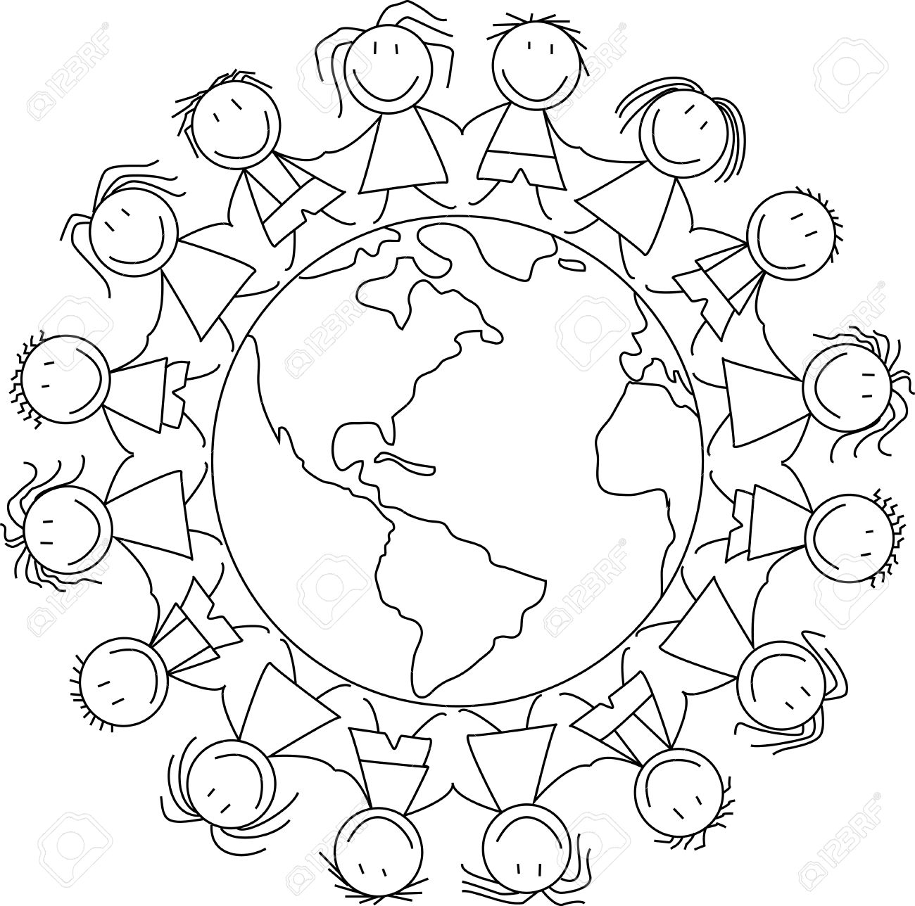 1300x1288 Happy Children Holding Hands On World, Kids Drawing Royalty Free