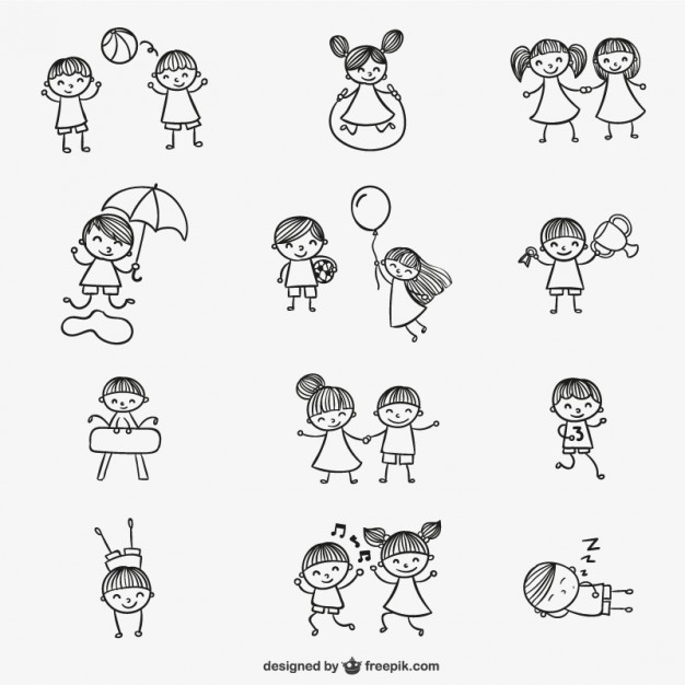 626x626 Kids Playing Doodles Vector Free Download