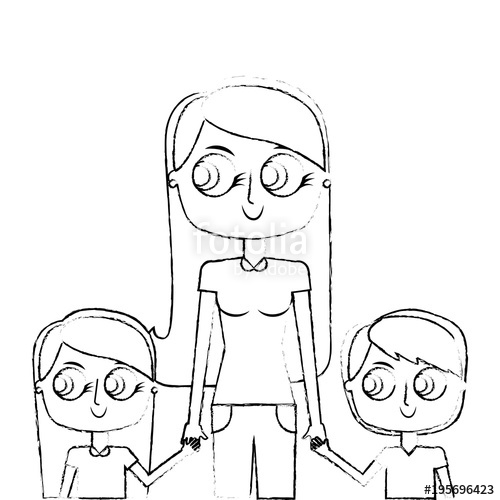 500x500 Mother And Her Kids Together Holding Hands Portrait Vector