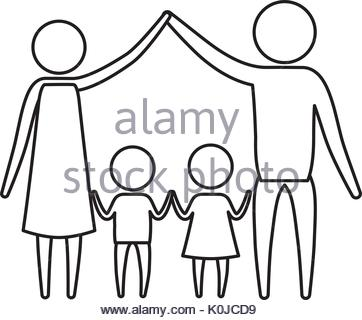 362x320 Sketch Silhouette Of Pictogram Parents Holding Hands Up