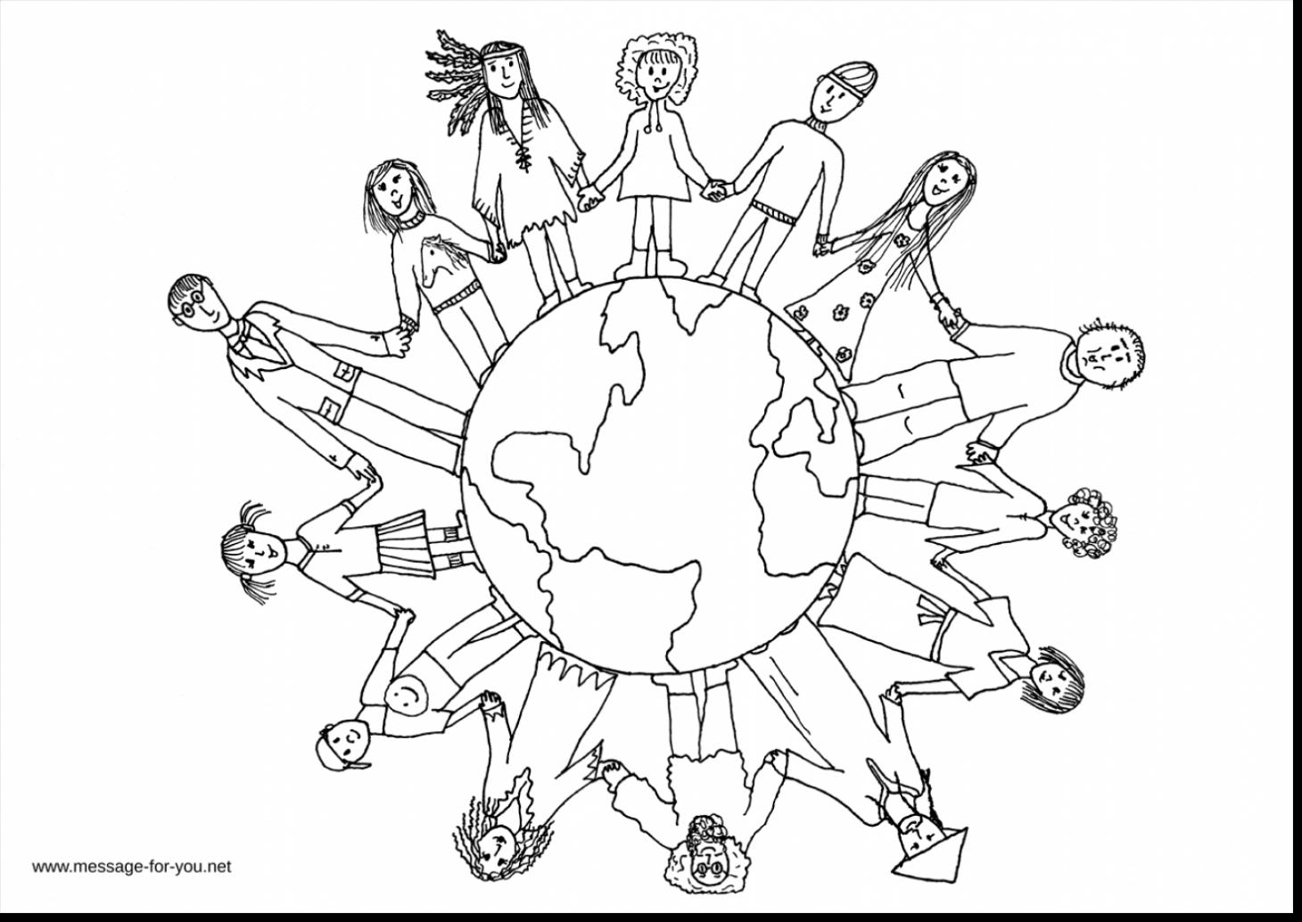 1460x1034 Children Holding Hands Coloring Page Happy Coloring Pages