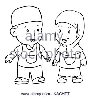 300x320 Hand Drawing Happy Muslim Boy Make Running. Brown Trousers, Yellow