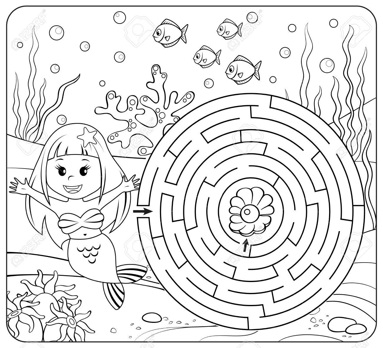 1300x1181 Help Mermaid Find Path To Pearl. Labyrinth. Maze Game For Kids