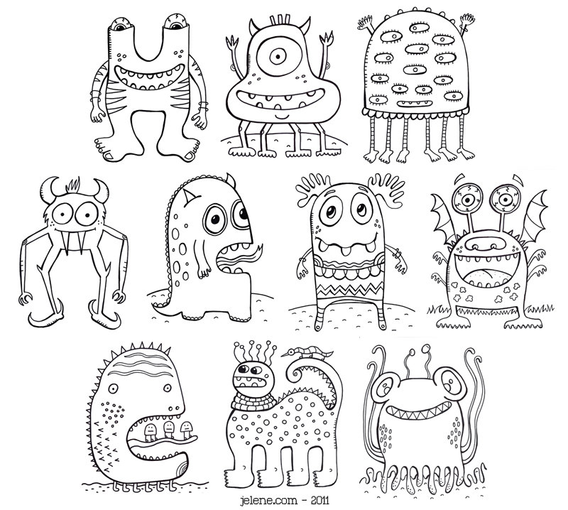 800x718 New Monsters Pdf Printable Coloring Book And New Shoe Designs