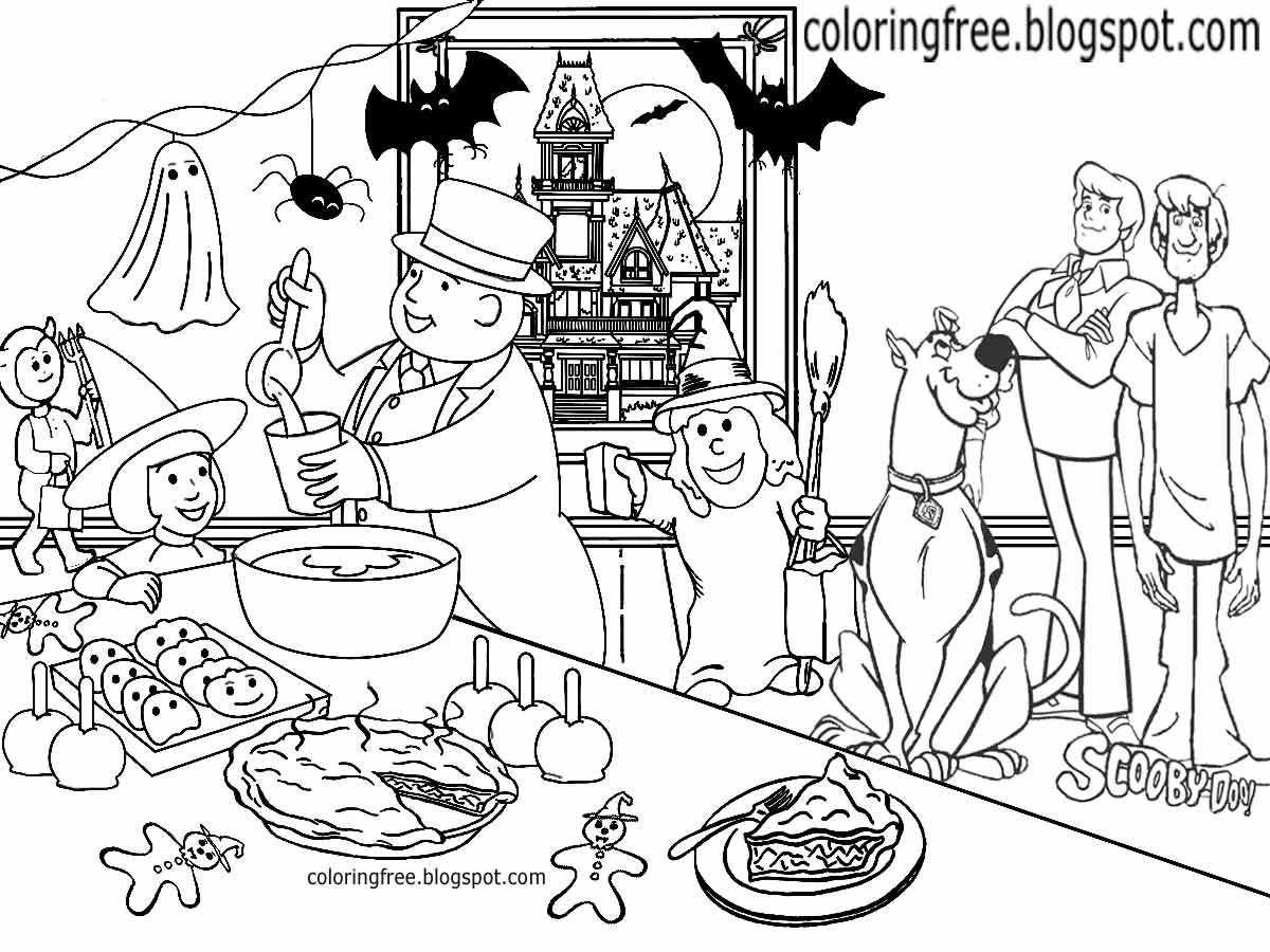 1200x900 Printable Scooby Doo Coloring Haunted Ghost Town Monster Drawing