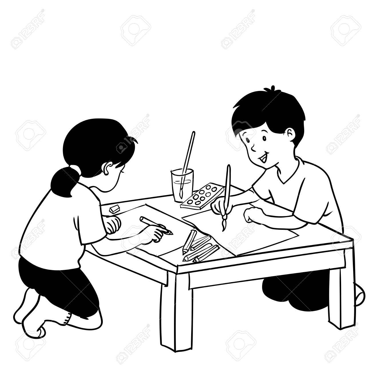 1300x1300 Illustration Of Kids Painting On Art Class, Hand Drawn Vector