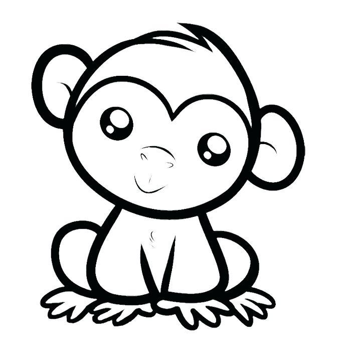 690x705 Kid Coloring Pages Free As Inspiring Draw Baby Monkey Coloring