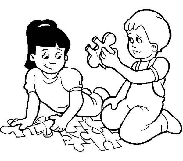 600x529 Children Playing Coloring Page Two Kids Playing Puzzle While