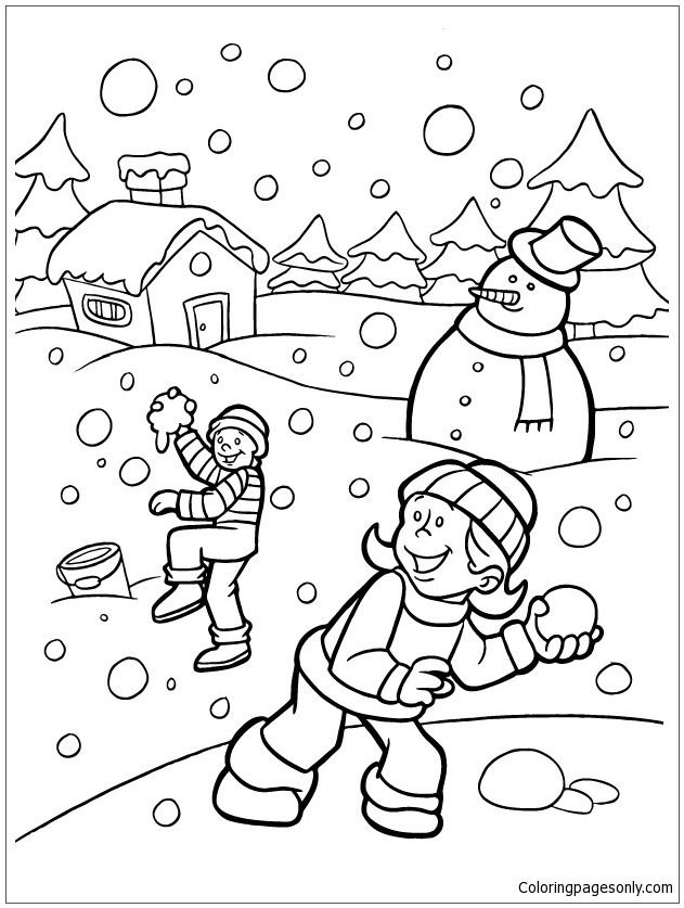 631x837 Kids Playing Snow In The Winter Coloring Page