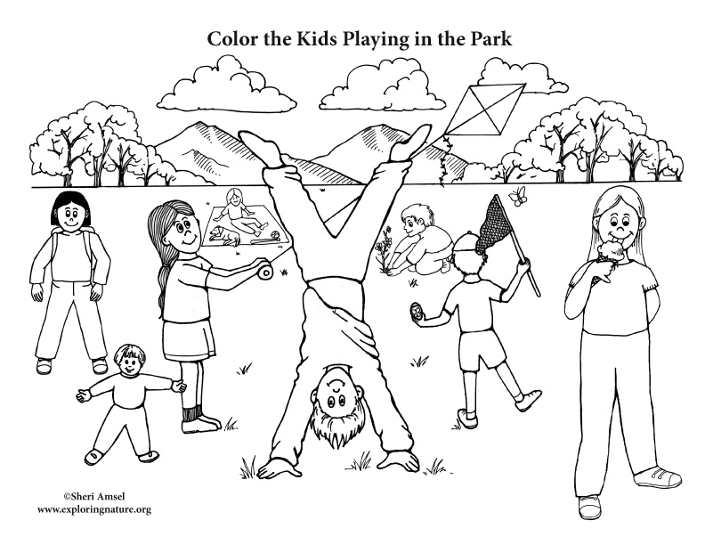 792x612 Kids Playing In The Park Coloring Page
