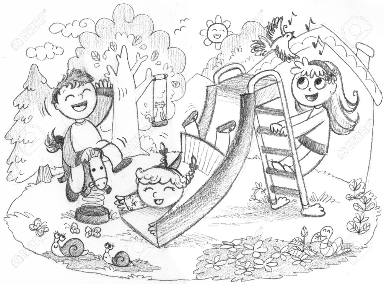 1300x961 Playground In The Country 3 Happy Kids Playing Together Pencil