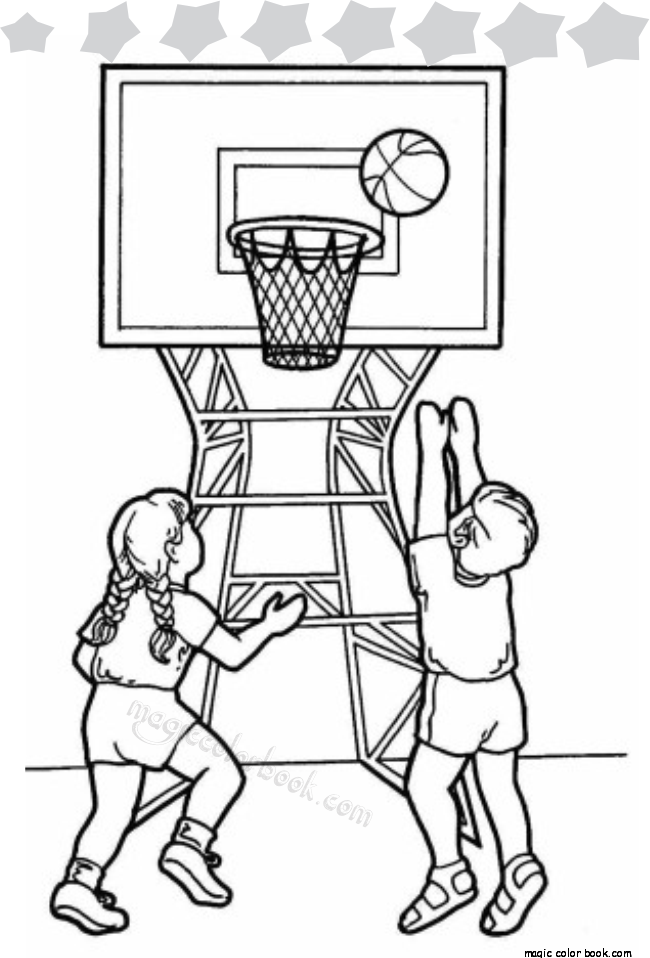 650x958 Two Kids Playing Basketball In School Gym Coloring Page
