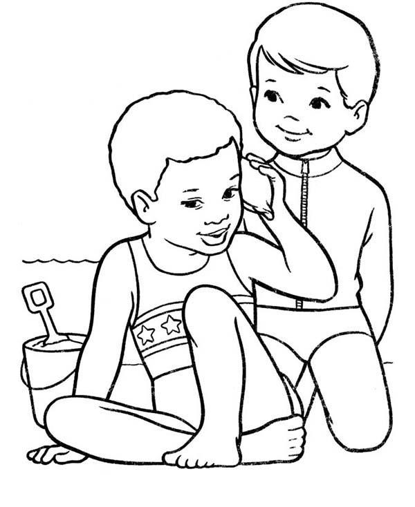 600x734 Two Kids Playing With The Beach Sand Coloring Page