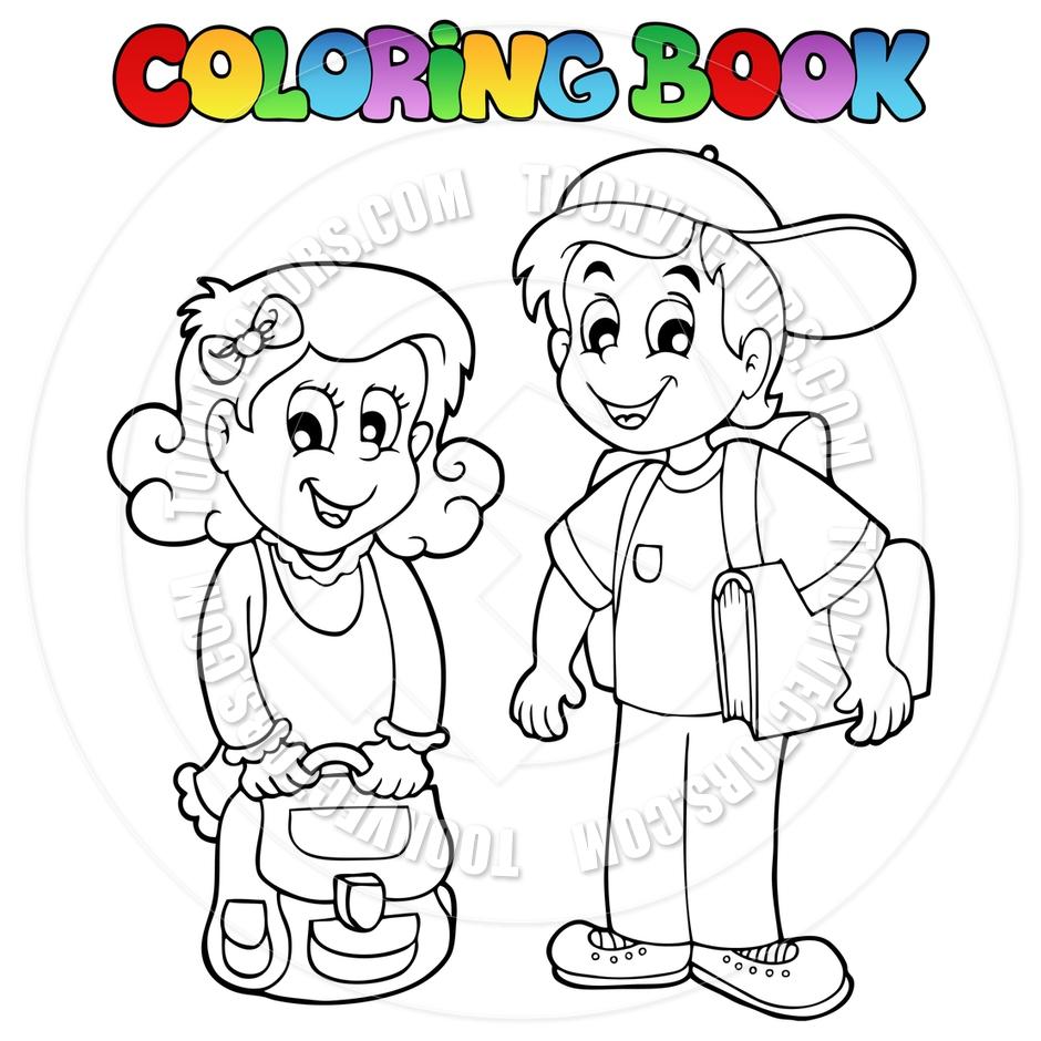 940x940 Cartoon Coloring Book School Kids By Clairev Toon Vectors Eps