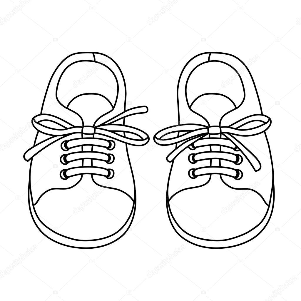 1024x1024 Hand Drawn Pair Of Kids Shoes Stock Vector Skrolan Kabi