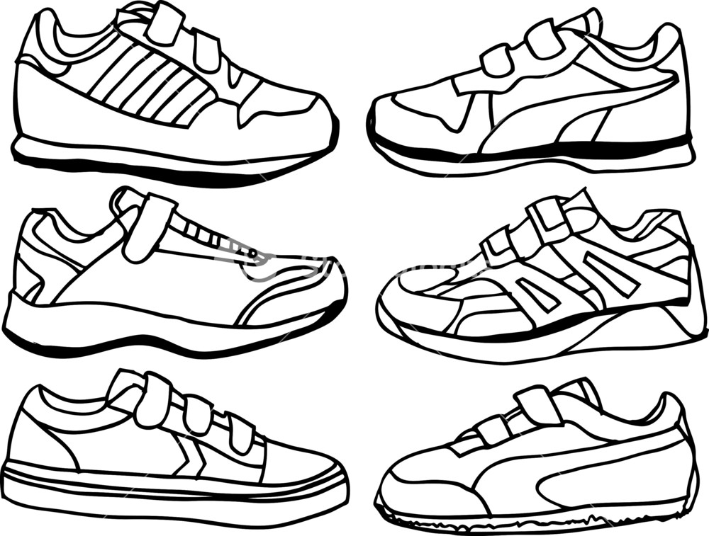 1000x757 Collection Of Kids Sports Shoes. Vector Illustration Royalty Free